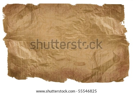Piece of brown paper, torn on white background