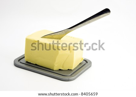 Piece of butter on a plate