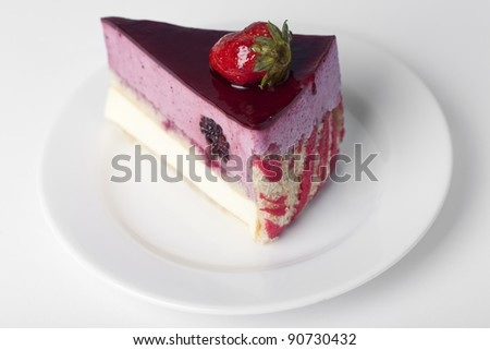 Piece of cake with a strawberry