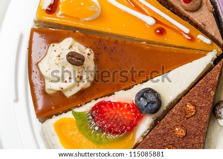 Piece of cake with coffee. Top view close-up