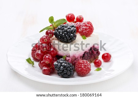 piece of cake with fresh berries, horizontal