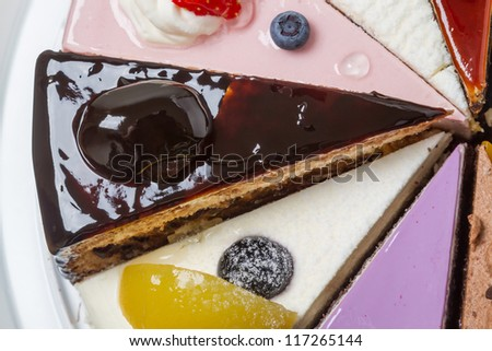 Piece of cake with prunes. Top view close-up