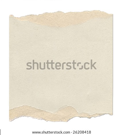 Piece of cardboard with torn edges. Isolated on white.