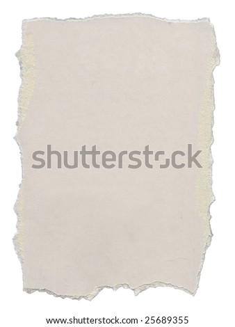 Piece of cardboard with torn edges. Isolated on white. Clipping path included.