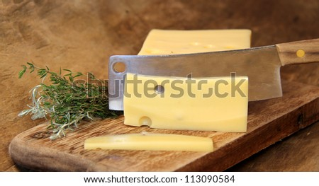 Piece of cheese, cutting Swiss cheese