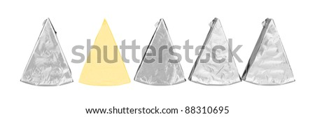 piece of cheese in foil isolated on a white background