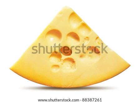 piece of cheese isolated on a white background