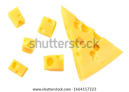 piece of cheese isolated on white background. top view