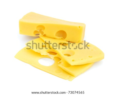 Piece of cheese with slices isolated on white background