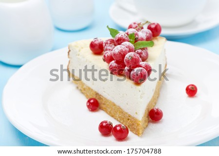 piece of cheesecake with red currant, close-up