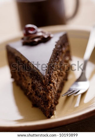 piece of chocolate cake, shallow dof
