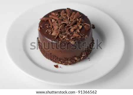 Piece of chocolate cake with icing