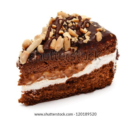 Piece of chocolate cake with peanut isolated on white background