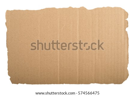 piece of corrugated cardboard white background. Cardboard texture ragged edge.