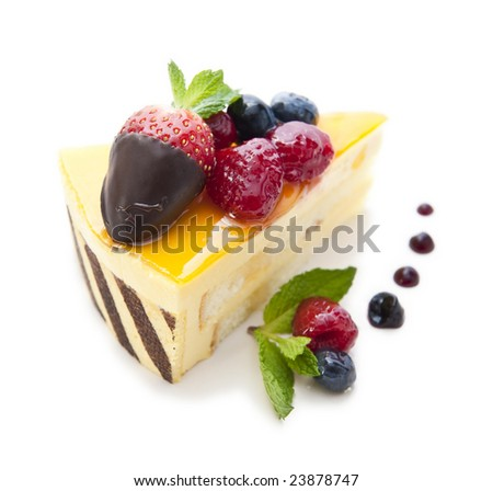 piece of delicious cake isolated on white