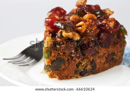 Piece of Delicious Fruit and Nut Cake