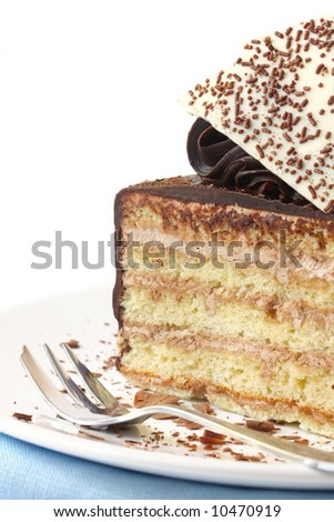 Piece of fancy layered chocolate cake, close-up view, with cake fork.
