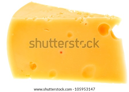 piece of french parmesan cheese isolated on a white background