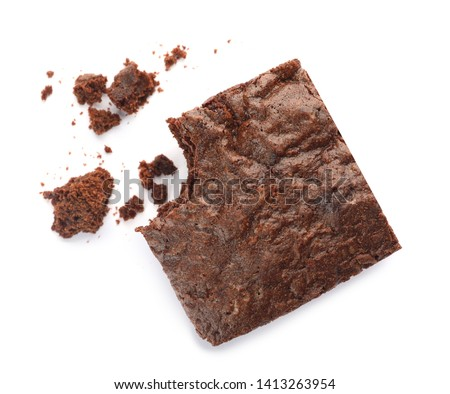 Piece of fresh brownie on white background, top view. Delicious chocolate pie #1413263954