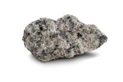 piece of granite rock isolated on a white background. Granite is a light-colored igneous rock with grains large enough to be visible with the unaided eye.