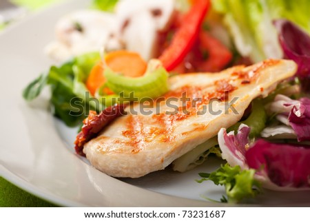 piece of grilled chicken breast