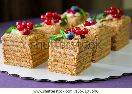 Piece of homemade honey cake with fresh berries. Piece of homemade honey cake decorated with fresh blueberries and red currants