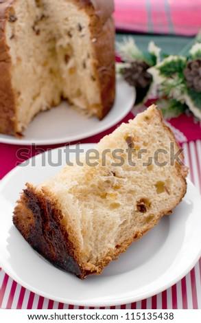 Piece of italian christmas cake panettone