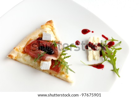 Piece of italian pizza. Healthy food on white background
