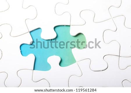 piece of jigsaw puzzle - stock photo