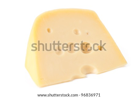 Piece of Maasdam cheese, white background