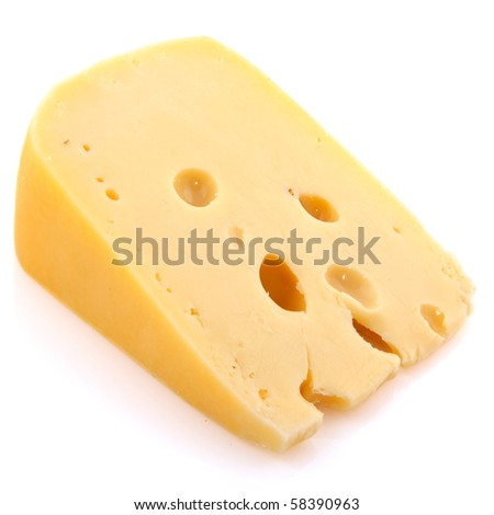 Piece of old cheese in cube shape
