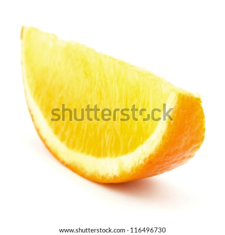 piece of orange isolated on white
