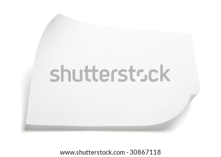 Piece of Paper on Isolated White Background