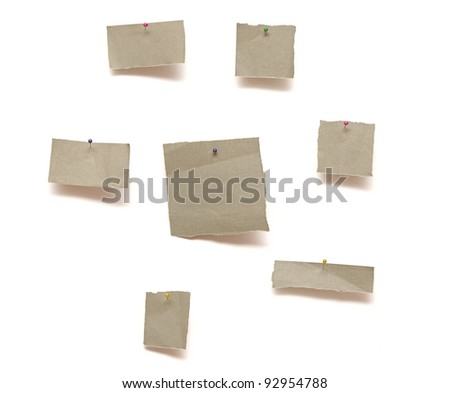 piece of paper pinned to white background with shadow - stock photo