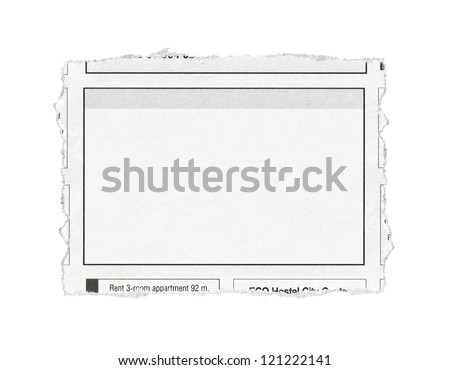 Piece of paper with advertisement space torn out from newspaper. Isolated on white.