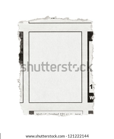 Piece of paper with blank advertisement space torn out from newspaper. Isolated on white.