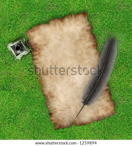 Piece of parchemnt ink quill and inkpot on grass 3D framed background