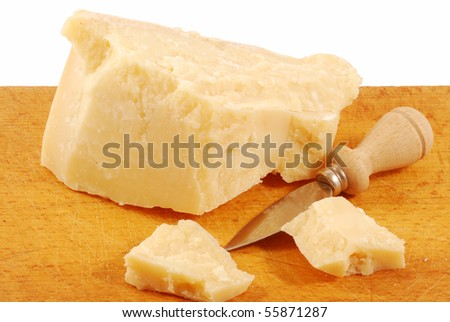 Piece of Parmesan cheese and diced with a knife