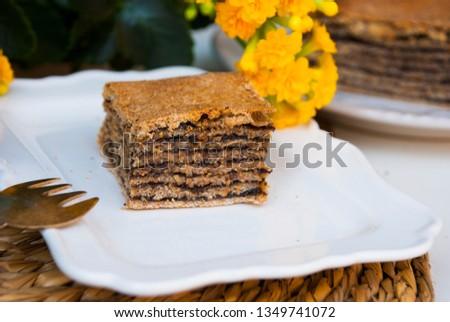 Piece of pie with poppy. Traditional tajil katlama pie. Stok fotoğraf ©