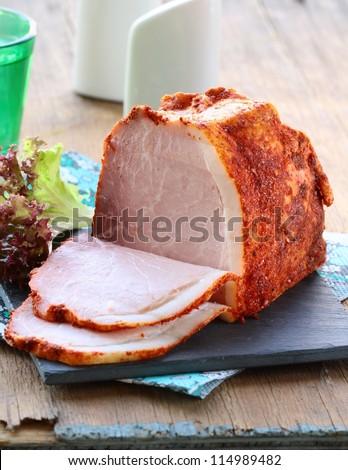 piece of pork smoked ham with paprika - stock photo