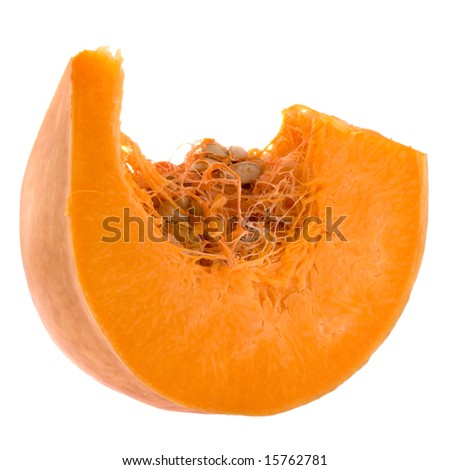 Piece of pumpkin isolated on white