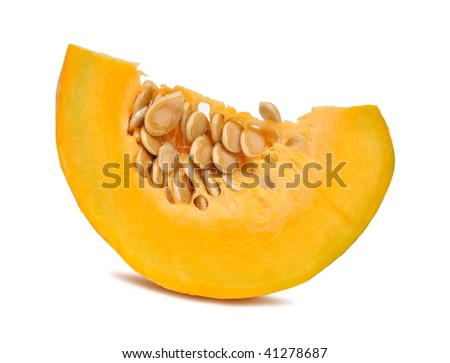 Piece of pumpkin isolated on white background