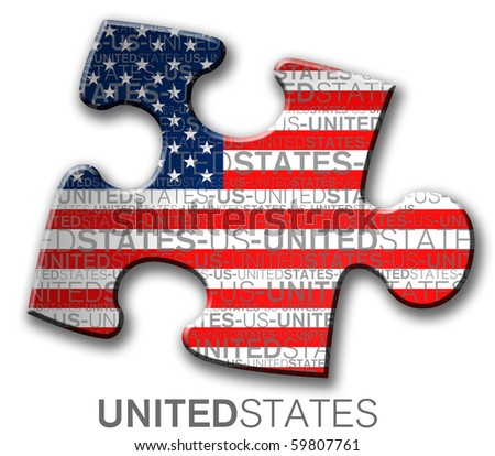 Piece of puzzle with the us flag - stock photo