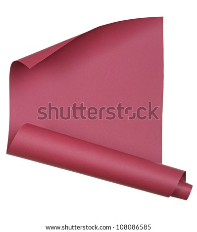piece of red paper rolled up in a roll isolated on white background
