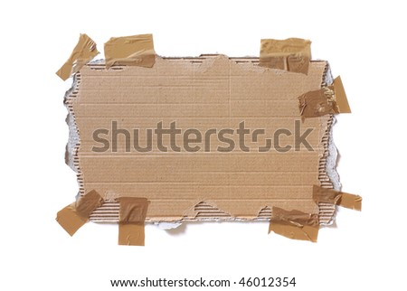 Piece of ripped cardboard stuck with tape isolated in white