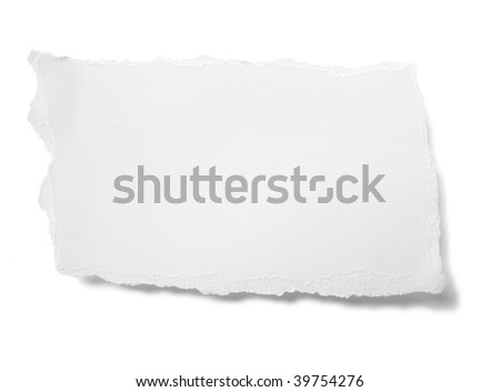 piece of ripped white paper on white background