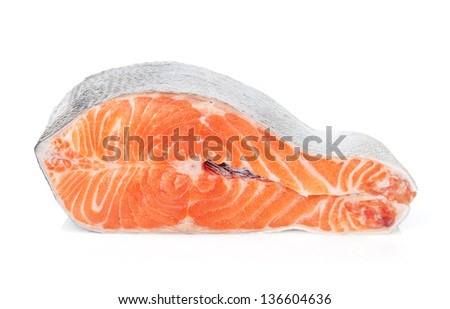 Piece of salmon. Isolated on white background