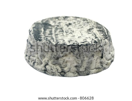 Piece of soft french cheese on white isolated background