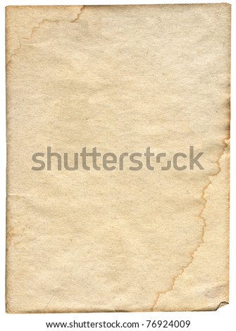 piece of stained paper isolated on white background