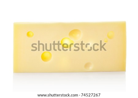 Piece of swiss cheese emmental isolated on white background, clipping path included